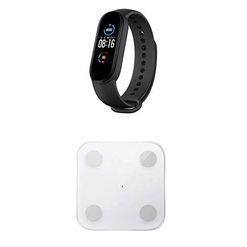 Xiaomi MI Smart Band 5, Schermo 1.1' AMOLED + Mi Body Composition Scale 2, Bilancia Pesa Persona Digitale