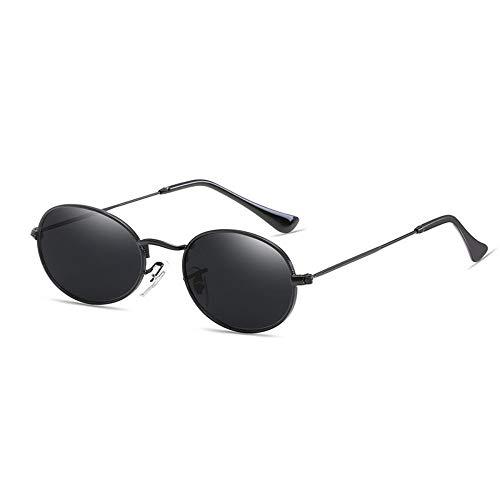 Gafas De Sol, Gafas De Sol Oval Pequeña Mujeres Hombres Diseñador Gafas De Sol De Espejo con Marco De Metal Negro Uv400 Vintage Todos