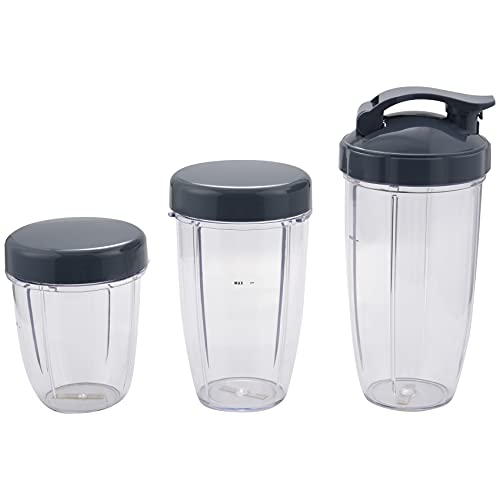Heritan 3Pcs Replacement Cups 32 Oz Colossal +24 Oz Tall +18oz Small Cup+3 Lids For Fruit Juicer Parts Kitchen Appliance Bottle