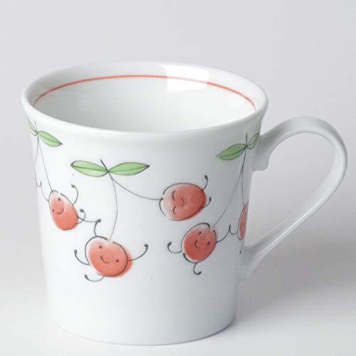 軽い マグカップ 薄手/軽量笑顔さくらんぼマグ/可愛い 家庭用 贈り物 プレゼント