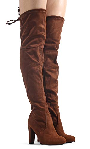 Womens-Over-The-Knee-Boots-Sexy-Drawstring-Stretchy-Pull-on-Comfortable-Block-Heel