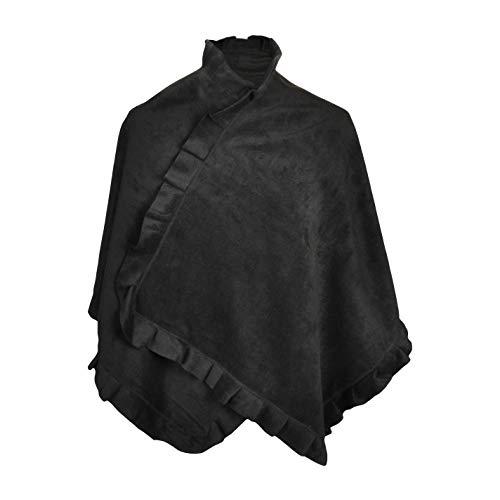 TOUTACOO, Poncho Cape aus Fleece - Damen 01-Schwarz