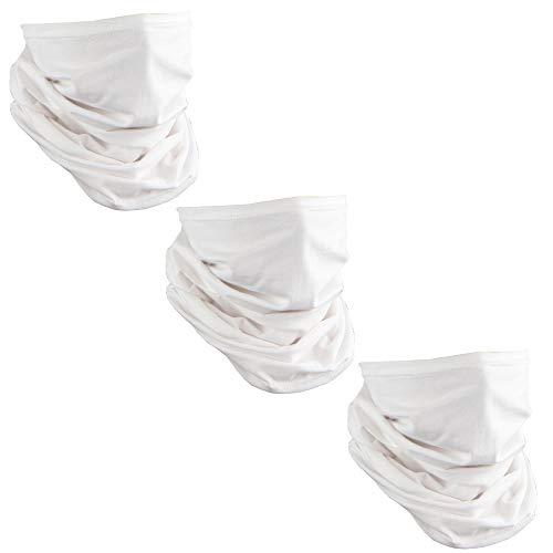 Solid White USA Made Cotton Neck Gaiter Face Mask Bandana Tube Scarf - Set of 3