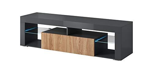 E-Com - TV-Lowboard Fernsehschrank Titan mit LED- 140cm, Anthracite/Wotan