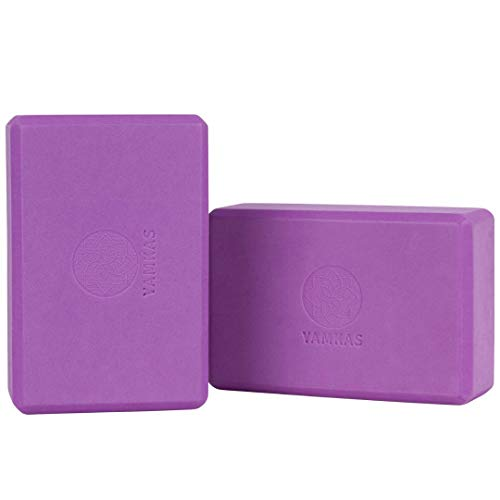 Yamkas Yoga Block High Density EVA Foam • Soft Eco Blocks • Lightweight • Non-Slip • Odor Resistant • Durable Bricks • Exercise Brick to Support and Deepen Poses • Set of 2 • Purple