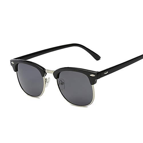 NJJX Gafas De Sol Polarizadas Semi Sin Montura Para Mujer/Hombre, Gafas De Sol Cuadradas Con Remache Retro, Para Hombre, Mujer, Clásico, Vintage, No Polarizado