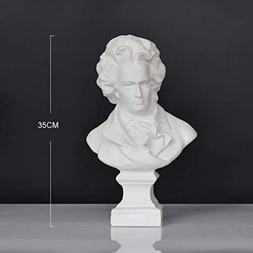 JJDSN Adornos de Escritorio para decoracin del hogar para Personas a Las Que Les Gusta la msica, estatuas de Cabeza de Resina, esculturas de Busto de Beethoven, Figuras clsicas COLECCIONABLES D