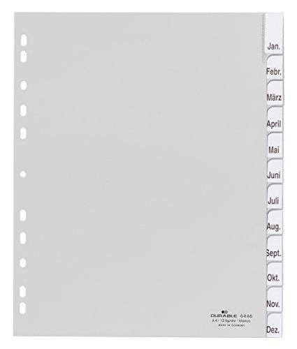 Durable 644610 Kunststoffregister (mit blanko Taben, A4 hoch, überbreit) 12-teilig, grau