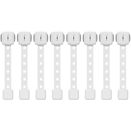Paochocky 18 PACKS Kit di Sicurezza per Bambini - 8 Chiusure di Sicurezza 10 Antiribaltamento Mobili Cinghie, Serrature di Sicurezza per Bambini, per Cassetti, Cassettiere, Librerie, Armadi