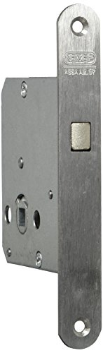 NEMEF 9751620004 Schiebetürschloss | mit Bogenriegel vernickelt | Dornmaß: 55 mm | WC | inklusiv Schließblech