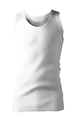 HEAT HOLDERS - Mens Cotton Winter Fleece Thermal Underwear Sleeveless Top Vest (Medium, White)
