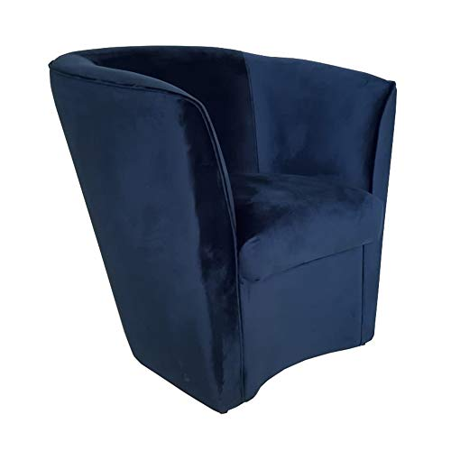Poltrona poltroncina da Camera Azzurra in Tessuto Velluto e Struttura in Legno (Blu)