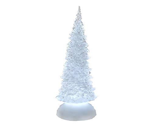 Deko Baum 'Pyramide' mit Licht und Wasser, 27 cm, weiß