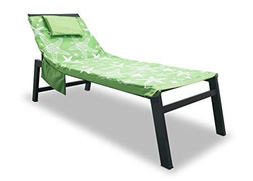 BiancheriaWeb Telo Mare Microfibra da Lettino con Cuscino E Tasche Modello Miami Verde