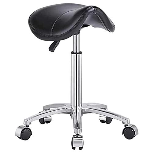 QLIGAH Taburete giratorio de salón de belleza, silla de elevación hidráulica de gas de masaje con 5 ruedas y ergonómico para bar estudio manicura