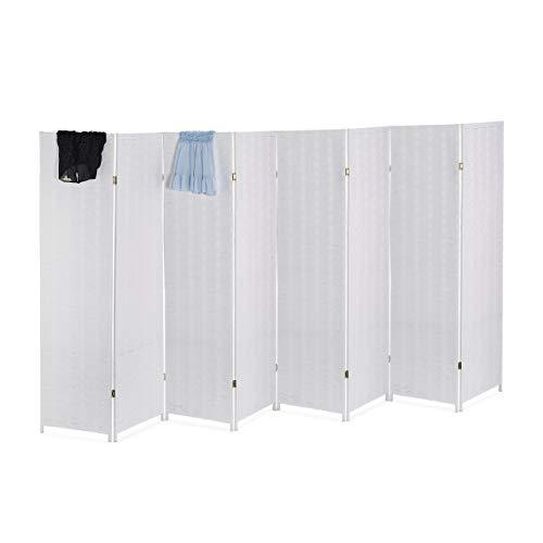 Relaxdays Paravent Raumteiler, HxB: 170 x 320 cm, Faltbarer Raumtrenner, 8-teiliger Sichtschutz, Holz & Papierseil, weiß