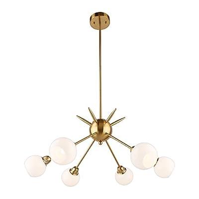 Sputnik Chandelier 6 Lights Vintage Pendant Lighting Fixtures Mid Century Ceiling Chandelier [UL Listed]