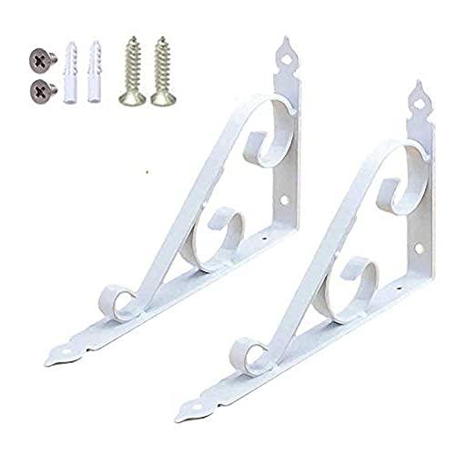 Soportes de esquina de hierro fundido todo en 1, soporte decorativo para estante montado en estante blanco, 2 unidades