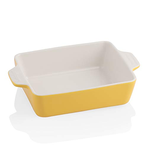 SWEEJAR Ceramic Baking Dish, Rectangular Small Baking Pan with Double Handles, 22OZ for Cooking, Brownie, Kitchen, 6.5 x 4.9 x 1.8 Inches (Yellow)