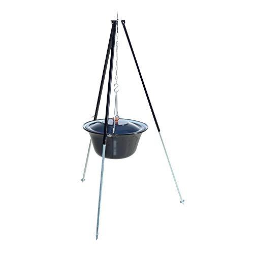acerto 31178 Original ungarischer Gulaschkessel (10 Liter) + Dreibein-Gestell (120cm) * Emailliert * Kratzfest * Geschmacksneutral | Teleskop-Dreifuß mit Gulasch-Topf, Suppentopf, Glühweintopf
