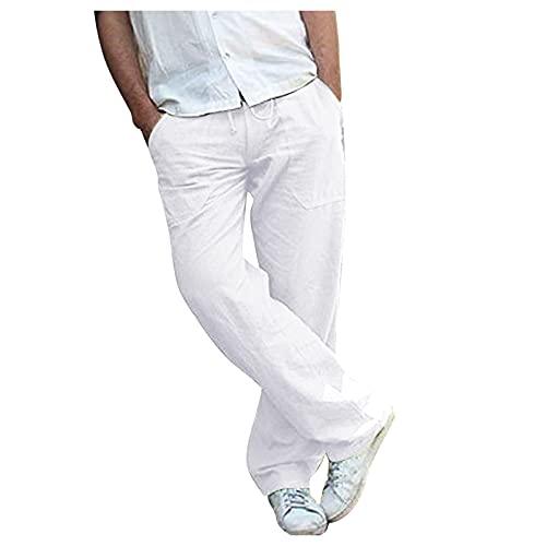 Pantalones para Hombre Verano de Deportivos de Algodón y Lino de Elástico, Pantalones Chandal Hombres Ligeros Sueltos Talla Grande, Pants de Color Sólido Corte Holgado para Yoga Playa