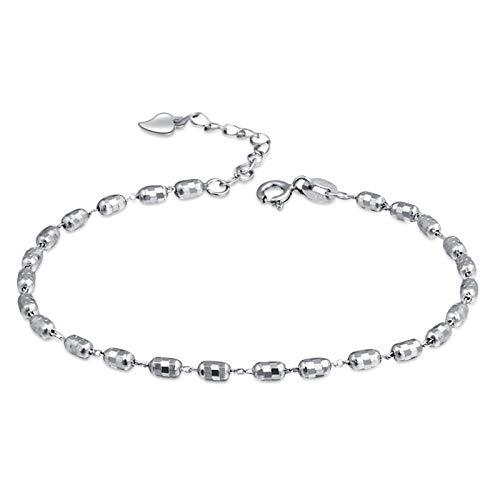 AmDxD 925 Sterling Silber Damen Armband Kugel Handhandgelenk Kette Freundschaftsarmbänder - Silber