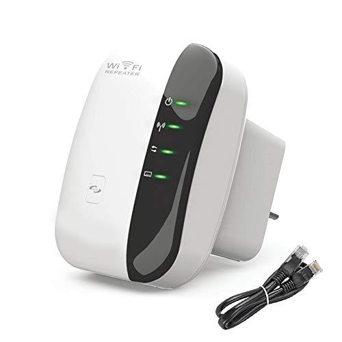 HOTSO Repetidor WiFi, 300Mbps Repeater Amplificador Ap de Señal Red 2.4G Extención Antena Incorporada LAN Puerto Alta Velocidad, Largo Alcance y Fácil Instalación Apto para Enrutador Fibra