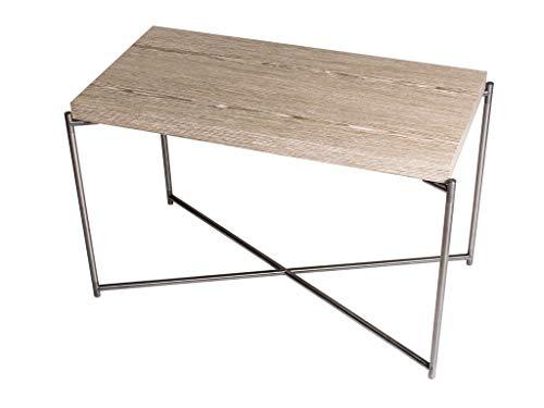 Rectangular Side Table - Weathered Oak & Gun Metal Frame