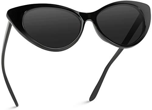 Vintage Inspired Fashion Mod Chic High Pointed Cat Eye Sunglasses for Women (Black Frame/Black Lens)