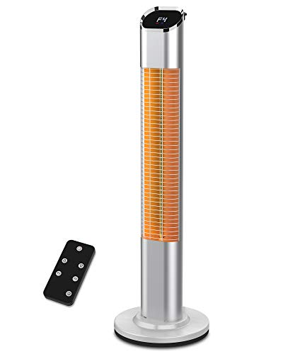 1500W Electric Infrared Standing Heater for Patio, Outdoor Portable Vertical Heater with Heating Gold Tube, LED Touch Screen Display & Remote Control, 24H Auto Shut Off and Super Quiet