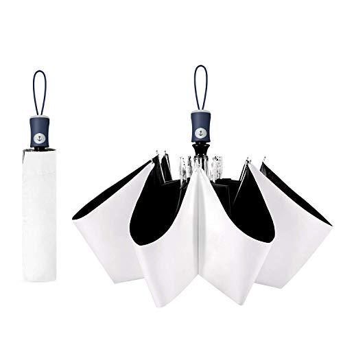 CUBY - Regenschirm Taschenschirm – windfest sturmfest Visier-Sonnenschutz – Regenschirm Stabiler Schirm mit Auf Zu Automatik, 95cm (Weiß)