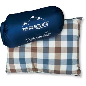 Compressible Camping Pillow for Lightweight Outdoor Travel Sleep System with Nylon Compact Pouch Bag (Blue Stripe)