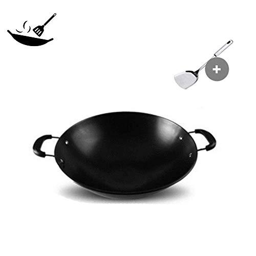 SHBV Padella in ghisa Antiaderente per Uso Domestico con Fondo Tondo in Ferro Stile Cinese per fornello a Gas 36 cm 50 cm 44 cm