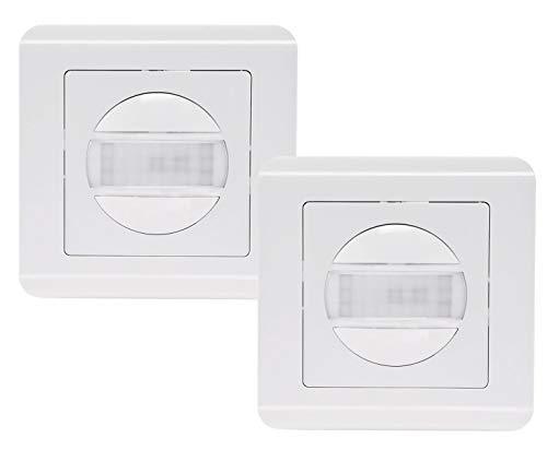 ChiliTec Unterputz Infrarot Bewegungsmelder 160° Pro | LED geeignet | 2-Draht Technik | 2 Stück I Weiß