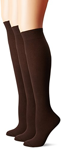 Hue Women's Flat Knit Knee Sock 3 Pack, Espresso, One Size
