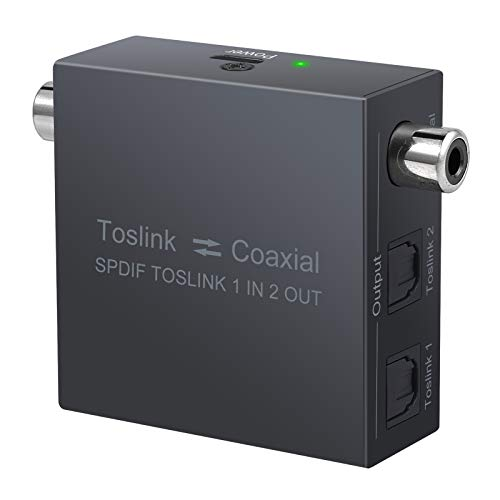 Convertidor Audio Digital Optico a Coaxial a Optico Divisor 2 Salidas...