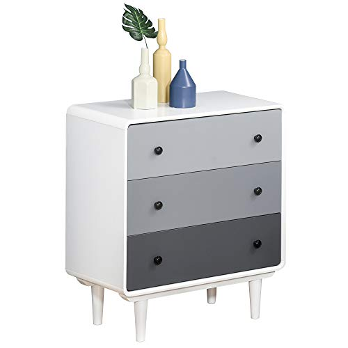 HOMCOM Schubladenschrank Büroschrank mit 3 Schubladen Kommode Weiß+Hellgrau+Dunkelgrau MDF Holz 68 x 38 x 78 cm