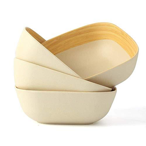 LEKOCH Juego de 4 Tazones Bio Bamboo Square Muesli Cuenco, Tazón de Cereal, Vajilla de Bambú Tazón de Sopa, Ensaladera