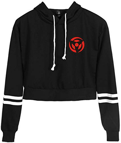 FLYCHEN Mädchen Kurzer Pullover Naruto Logo Hoodie Kurze Kapuzenpulli Uchiha Clan Emblem Hoodie,XXS,SCHWARZ