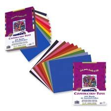 """Pacon Corporation Products - Economy Construction Paper, 12""""x 18"""", 100/PK, Assorted - Sold as 1 PK - Each assorted pack includes assortment of eight popular colors. Lightweight construction paper is economical and suitable for all kinds of arts and crafts projects. Package includes green, red, black, blue, yellow, pink, white, brown and orange."""