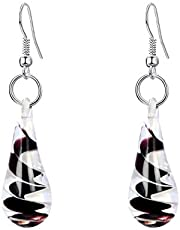 Ladies Drop Pendant Earring with Black Spiral Flow Inside