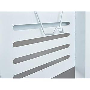 Inter Link Schreibtisch Schülerschreibtisch ergonomisch mit Schublade aus Metall und MDF in Weiss und Grau, 122 x 80 x 13,5 cm