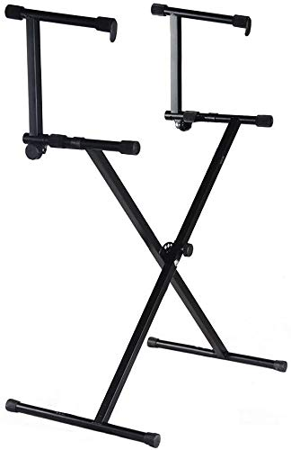 MIYAKO 2 Tier Double X Keyboard Stand with Adjustable Height - Portable Two-Tier Stand with Locking Straps and High Strength Steel for Durability - Ideal for Keyboards and Consoles (D-11)