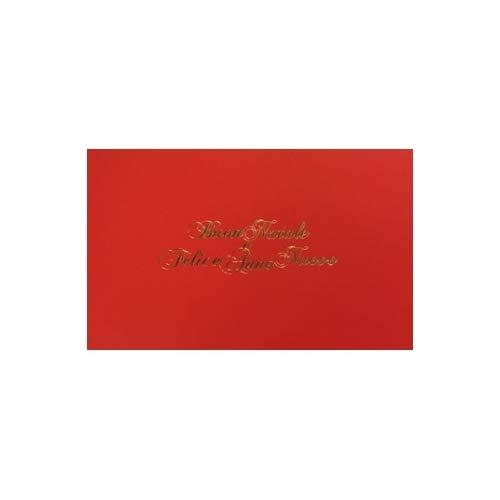 Biglietti + Buste Buon Natale e Felice Anno Nuovo Rosso scritta Oro 8,5x13,5cm 100+100pz