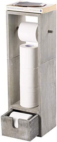 HAITRAL Toilettenpapierhalter Holz Toilettenpapier Papier Rollenhalter Aufbewahrungsschrank im Badezimmer
