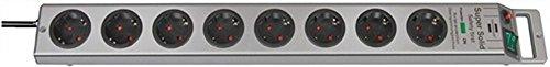 Stekkerdoos 8-voudig met schakelaar zilver/zilver L.2,5m H05VV-F