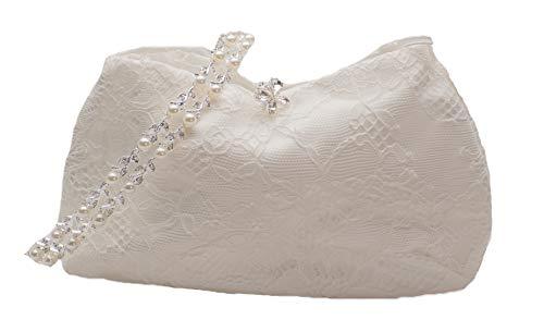 Brautbeutel Tasche Creme Ivory Brauttasche Spitze Strass Schmetterling Kristall Handarbeit