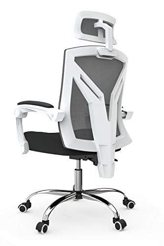 Hbada Ergonomic Office Chair, High-Back Desk Chair with Lumbar Support, Height Adjustable Seat and Headrest, Breathable Mesh Back, Soft Foam Seat Cushion, White (Without Footrest)