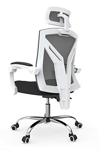 Hbada Bürostuhl ergonomischer Drehstuhl Chefsessel mit hoher Rückenlehne Schreibtischstuhl mit verstellbare Kopfstütze und Armlehnen Weiß