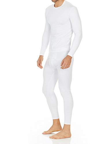 Thermajohn Men's Ultra Soft Thermal Underwear Long Johns Set with Fleece Lined (Medium, White)